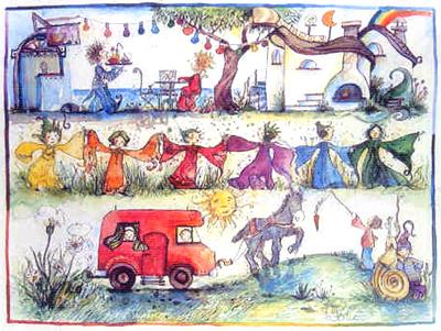 Zeichnung eines bunten Elfenlandes