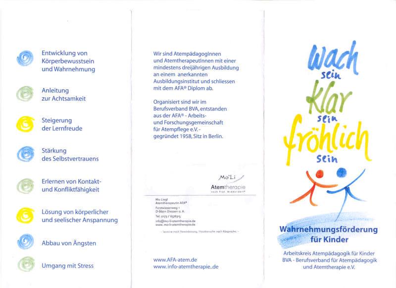 """Flyer """"Wach sein, klar sein, fröhlich sein"""" Wahrnehmungsförderung für Kinder, Seite 1"""