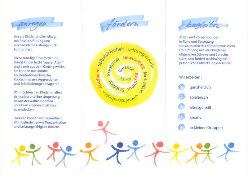 """Flyer """"Wach sein, klar sein, fröhlich sein"""" Wahrnehmungsförderung für Kinder, Seite 2"""